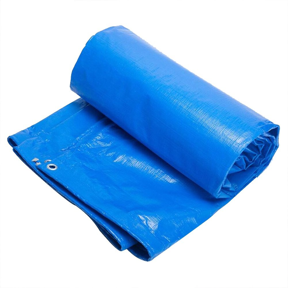 PENGFEI Tarpaulin Rain Cloth Waterproof Plants Sun Protection Shade Cargo Dust-proof Wear-resistant Thermal Insulation Polyethylene, Thickness 0.4mm, -180 G/M² (Color : Blue, Size : 3 x 3m)