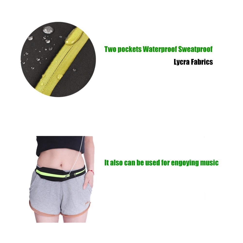 MANLERSPORT Running Waist Pack, Outdoor Sweatproof Reflective Waist Fanny Pack Belt Fitness Workout Belt Runner Belt, Dual Pouch Bag for iPhone SE, 6s Plus, 6 Plus, 6s, Galaxy S7, S7 Edge