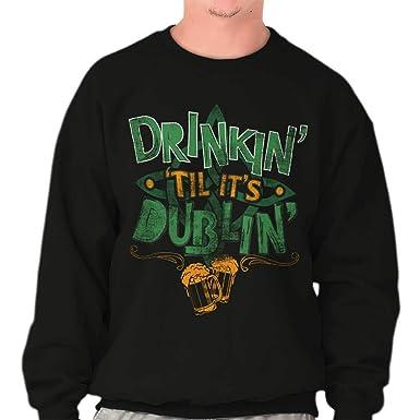 a3ff02205d St. Patrick's Day Drunk Irish Beer Drinking Dublin Funny Crewneck  Sweatshirt at Amazon Men's Clothing store: