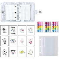 Mini Binder Pockets,3-Hole Refillable Notebook Accessories Set, Transparent PVC Loose-Leaf Notebook,Including 70…