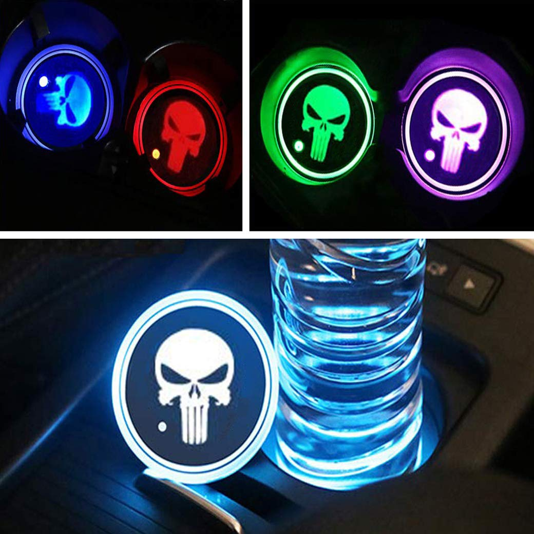 Luminescent Cup Pad Interior Atmosphere Lamp Decoration Light 2PCS DIY1234 LED Car Cup Holder Lights Skull Logo Car Coaster with 7 Colors Changing USB Charging Mat