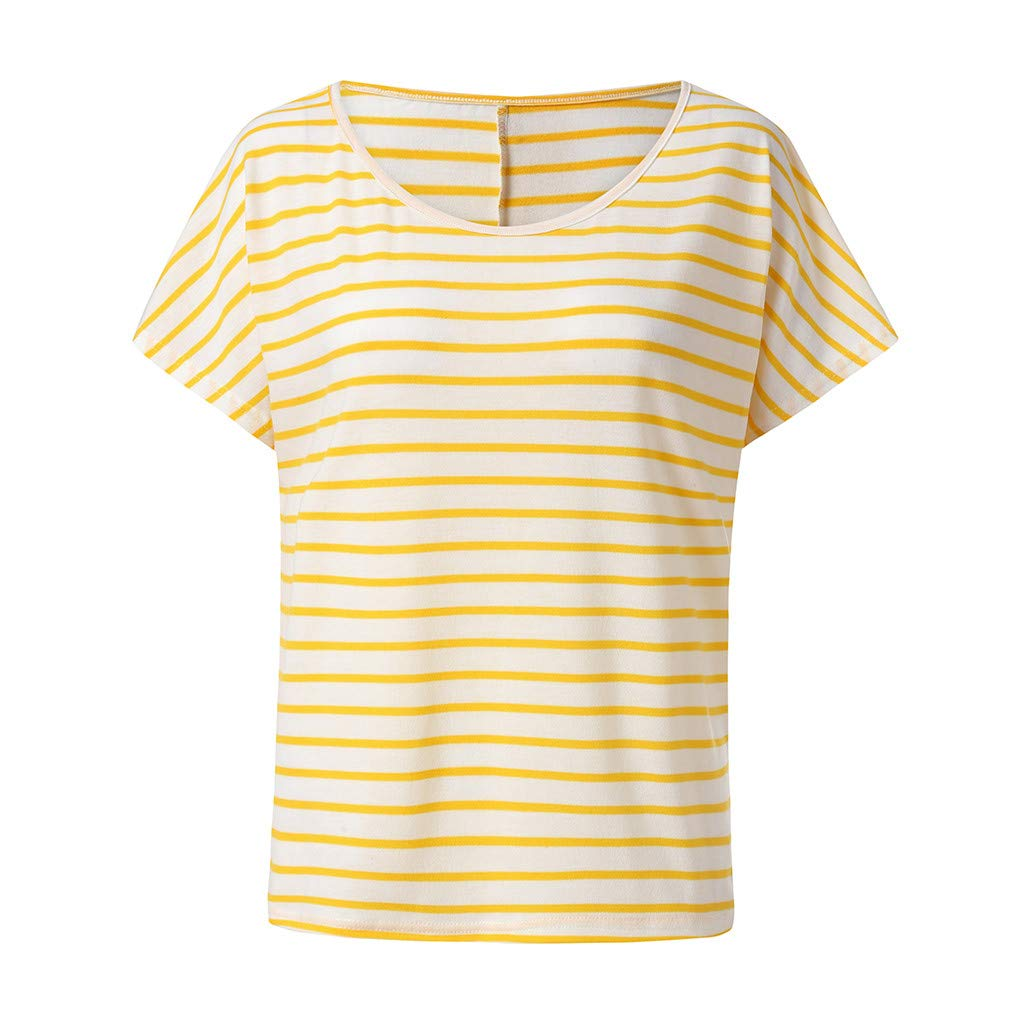 Keliay Cute Womens Tops Summer,Women Summer Casual Printed Striped O-Neck Short Sleeve Top Blouse Yellow by Keliay (Image #3)