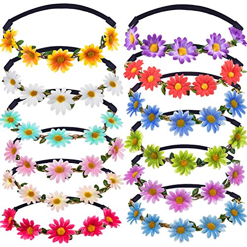 Bememo 12 Pieces Multicolor Lady Girl Fashion Flower Crown Floral Garland Headbands for Festival Wedding Party -