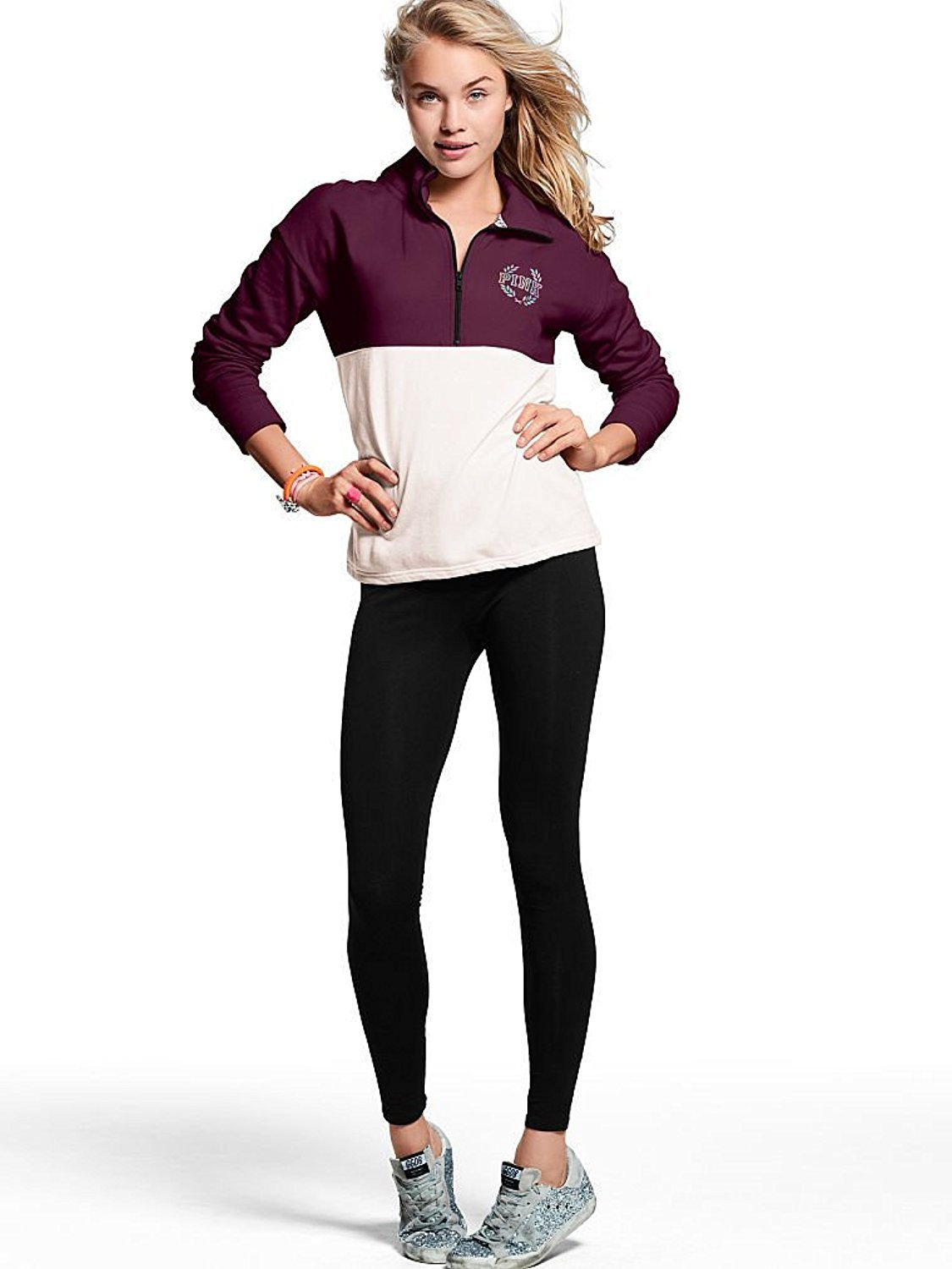Victoria's Secret, Pink High/Low Half Zip & Campus Legging Gift Set Bling Black Orchid (Small)
