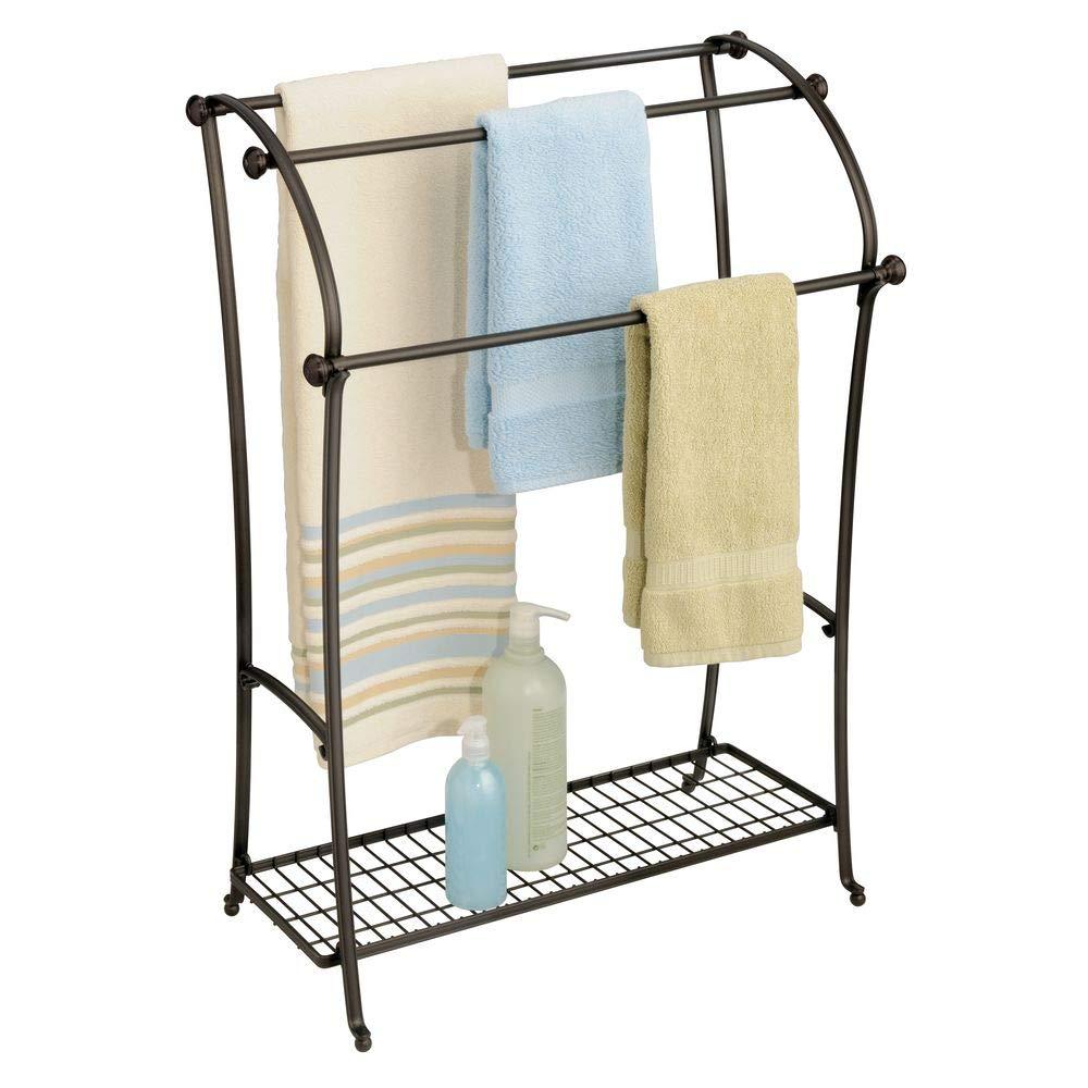 InterDesign York Metal Toilet Bowl Brush and Holder for Bathroom Storage - Bronze 78881