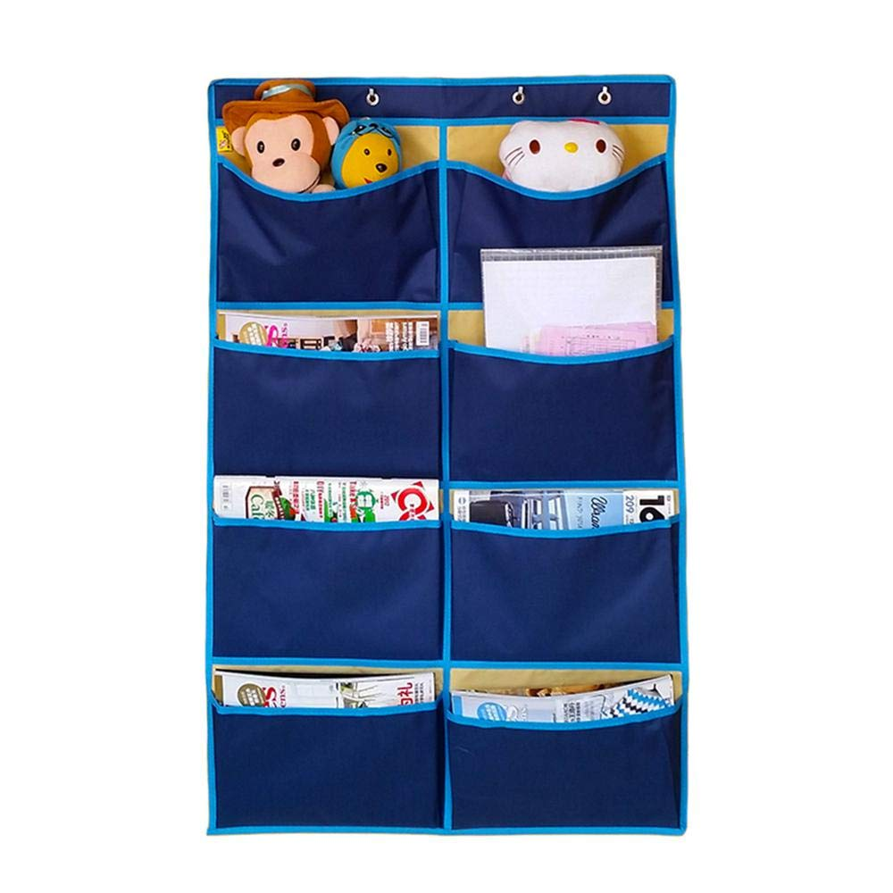Aolvo Wall Hanging File Folders Over The Door Organizer Waterproof Wall Mount Pocket Chart 4 Hanging Hooks Home School Office Magazine/Notebooks/Planners/File Folders, 8 Pockets(Blue)
