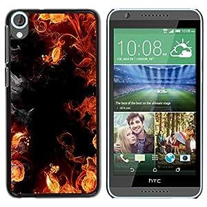 Stuss Case / Funda Carcasa protectora - Flames Black Red Yellow Hell Smoke Fire - HTC Desire 820