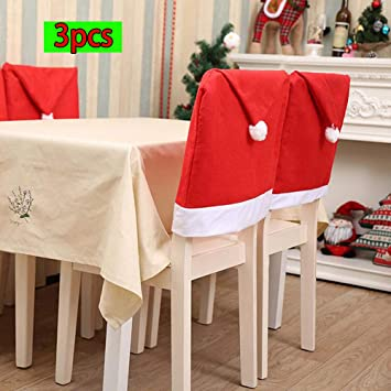 HHmei 3pcs Home Party Decoration Santa Claus Christmas Red Hat Dining Room Chair Cover Decorations Outdoor