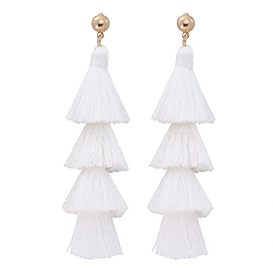 d26245bb2dfd19 Jane Stone Fashion Tassel Earrings Statement Bohemian Multi Layered Gold  Plated White Jewelry for Women Girls