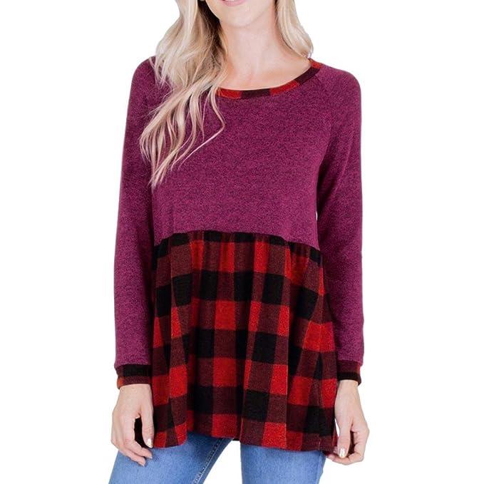 61355762b954f4 DRESS start Damen Casual Langarm O-Neck Plaid Pullover T-Shirt Off Shoulder  Bluse Karierte