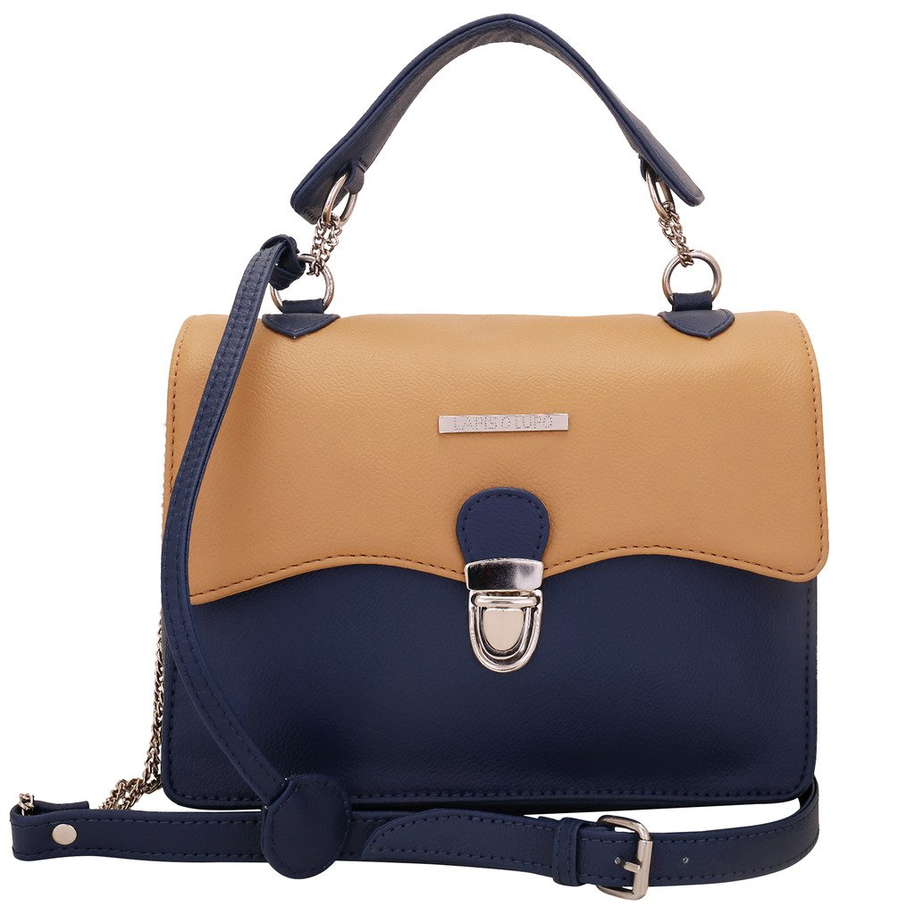 blue and brown sling bag