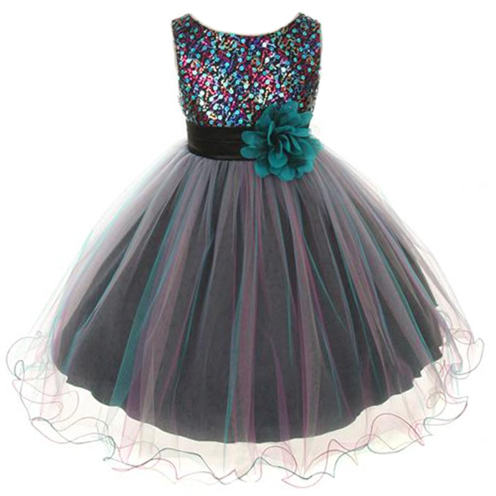Little Girls Sparkly Multi Sequin Triple Layered Tulle Skirt Floral Brooch Flower Girl Dress Teal - Size 4