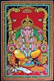 Lord Ganesh Good Luck Wall Poster 30x40 inch Tapestry Sequin Ganesh Small wall Hanging - Americana Decor's