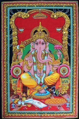 Americana Decor's Indian God Tapestry Poster Lord Huge Good Luck Wall Poster 30 x 40 Inch Poster -