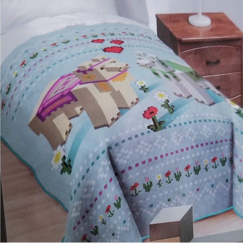Minecraft Twin Bed Blanket Blue