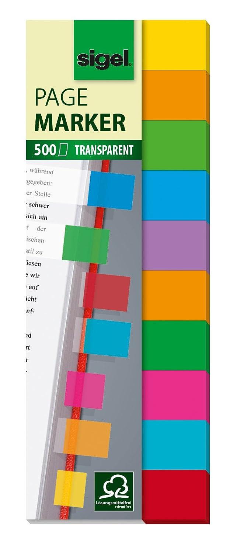Sigel HN684 Segnapagina film adesivi, rimovibili, Multicolor, 10 colori a blocchetto, 44x12,5 mm, 500 fg.