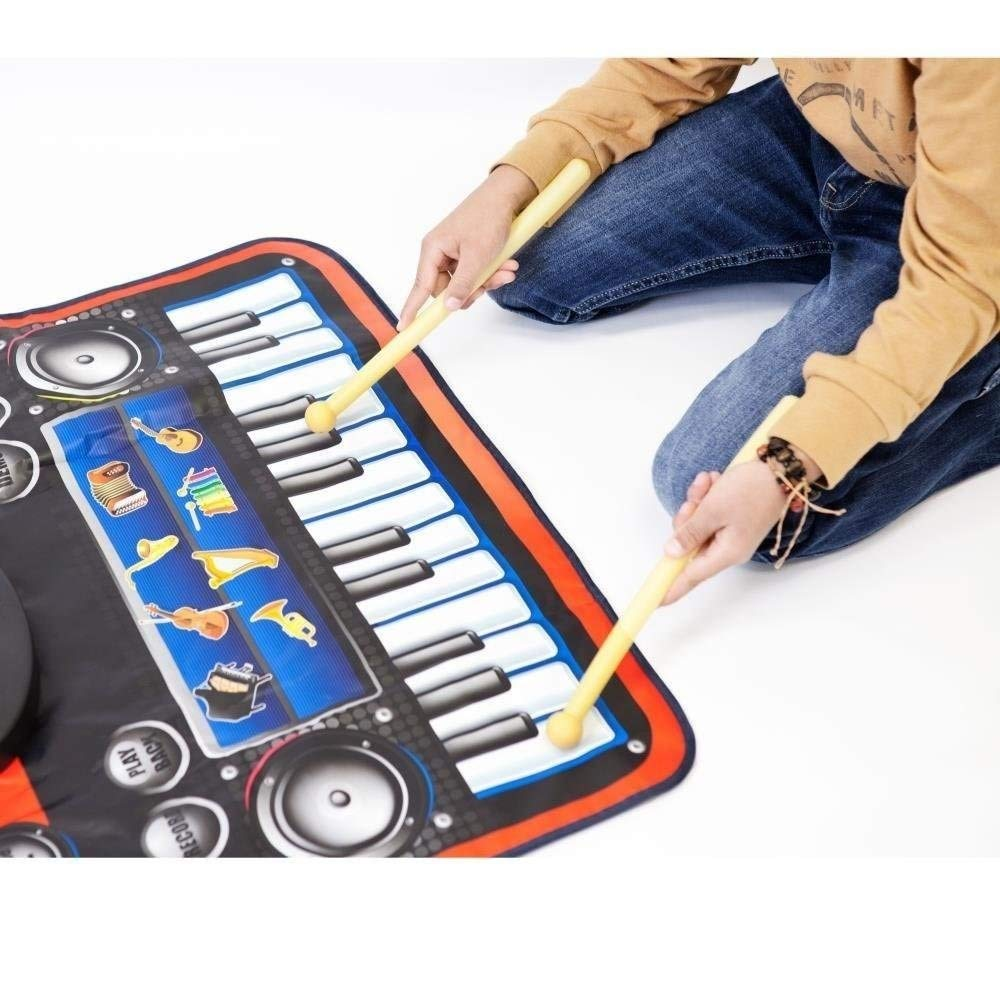 2-in-1 Functional Drum & Piano Foldable Music Mat with 5 Piece Drum, 2 Drum Sticks, 14 Demos, 24 Key Piano Keyboard with 8 Different Recordable Musical Instruments, Powerful Speakers with 3.5mm Aux Co by Toner Depot (Image #3)