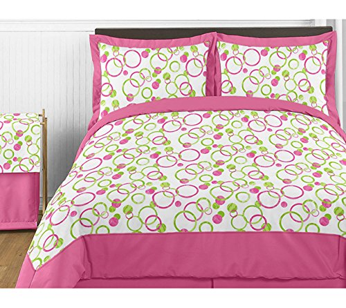 Modern Pink and Green Circles Polka Dots Childrens and Teen 3 Piece Full / Queen Girl Bedding Set