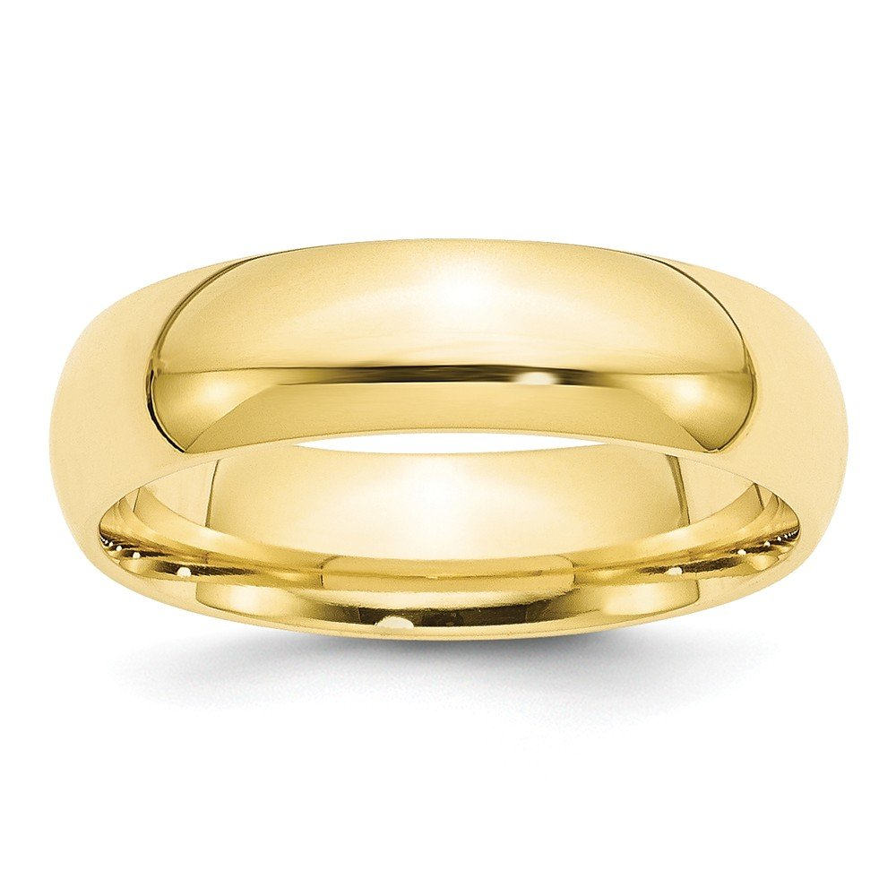 10K Yellow Gold 6mm Standard Comfort Fit Band Ring