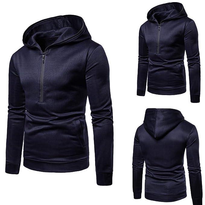 YOYOGO Ropa Hombre Oferta Verano 2018❤Mens Pure Color Zipper Pullover Long Sleeve Hooded Sweatshirt
