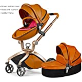 Hot Mom 3 in 1 Travel System Luxury High-view Baby Stroller with An Extra Bassinet (hot mom E)