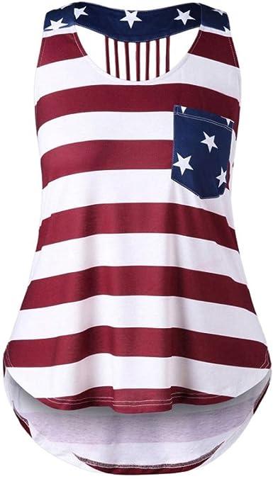 SHOBDW Las Mujeres de Moda Casual Apenado Bandera Americana sin Mangas Slim Sexy Camisa sin Mangas Blusa Camiseta: Amazon.es: Ropa y accesorios