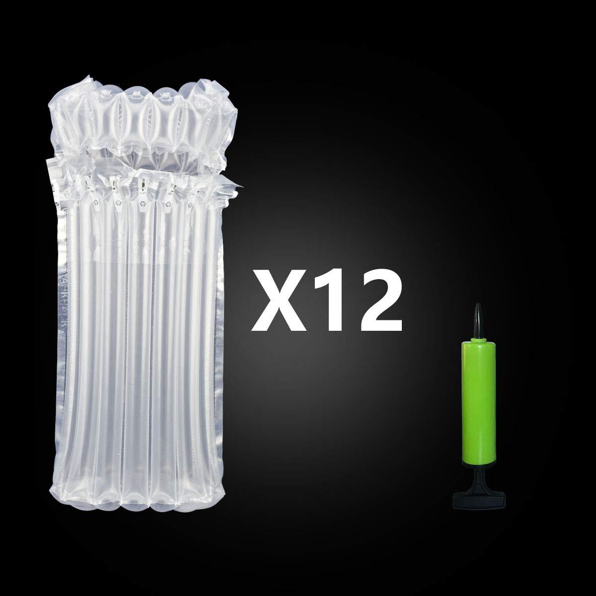 12 pezzi AirBaker Custodia Gonfiabile per Bottiglie di Vino Busta da Trasporto Imballo di Protezione per Bottiglie Vetr viaggi aereo pompa inclusa