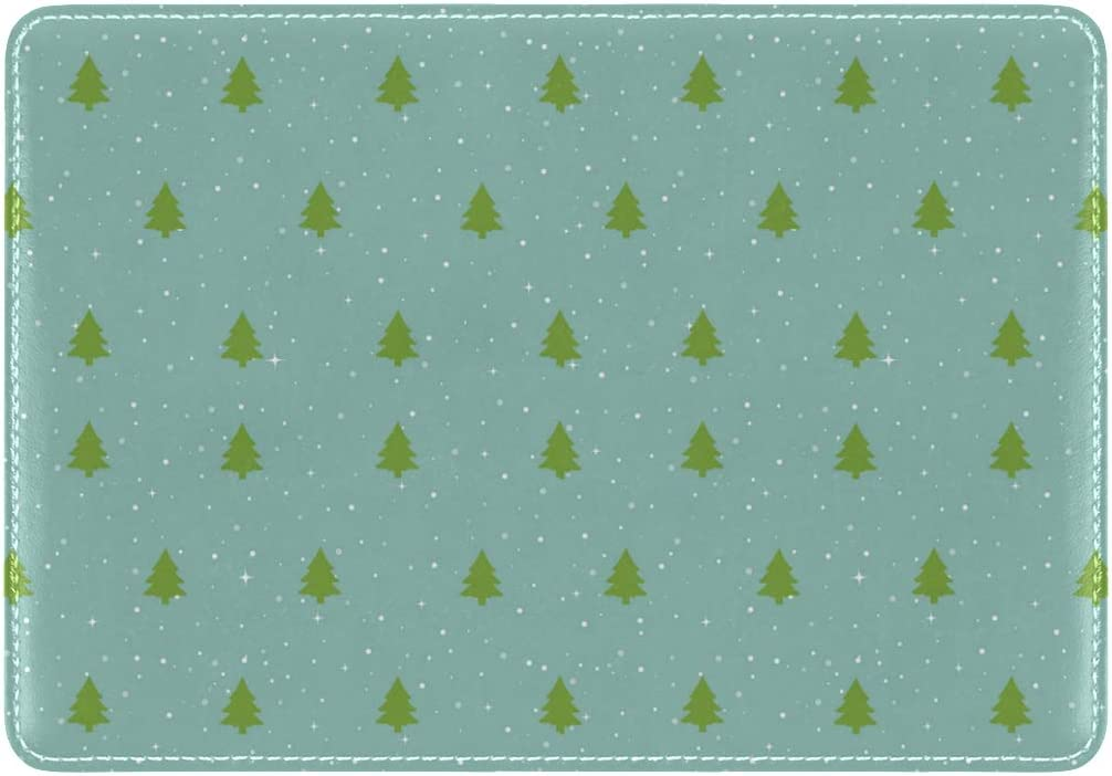 Tiny Green Christmas Tree Leather Passport Wallet for Passport Holder for Safe Trip durable Easy to Carry
