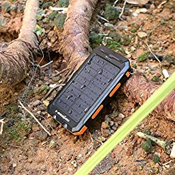 Solar Panel, X-DRAGON Solar Charger 10000mAh Solar Power Bank with Compass Hook Flashligh for Emergency Outdoor Camping (Waterdrop-Resistant, Dust-Proof and Shock-Resistant)-Orange