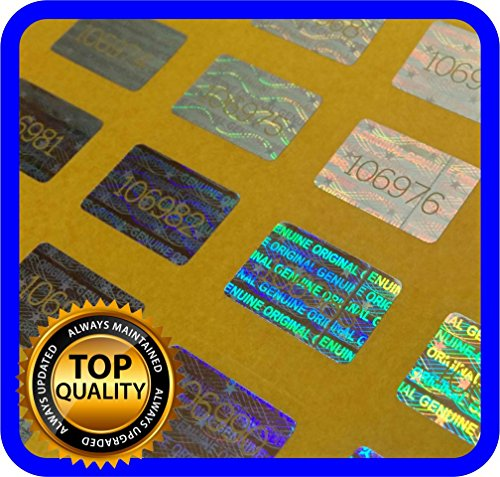 280 Hologram labels with serial numbers, warranty stickers seals .63 x .39 inch (Tamper Labels compare prices)