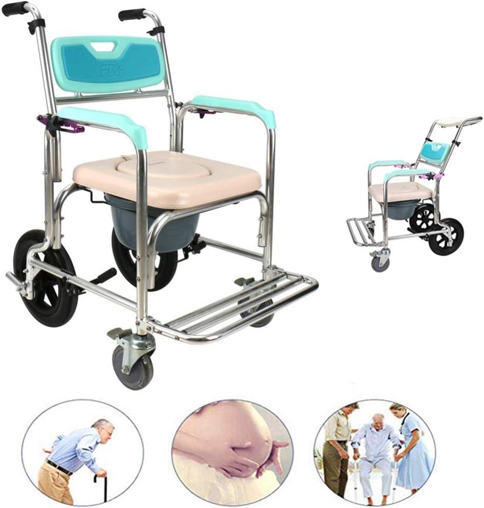 Silla con Ruedas móvil para Ancianos/con Ruedas y reposapiés/Silla de Ruedas médica para Transporte a Prueba de Agua/Silla de Ducha/Respaldo Ajustable