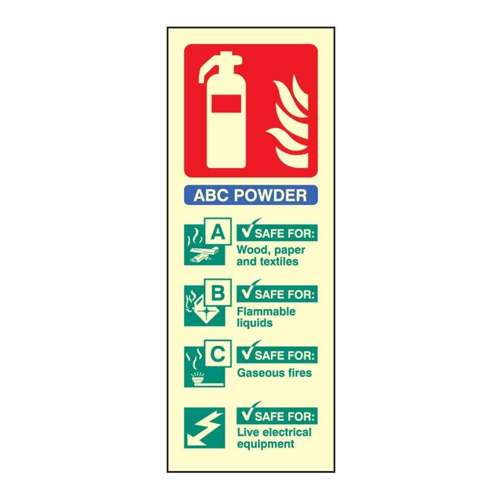 Photoluminescent ABC Powder Fire Extinguisher ID Sign Portrait - 75mm x 200mm - FireShield