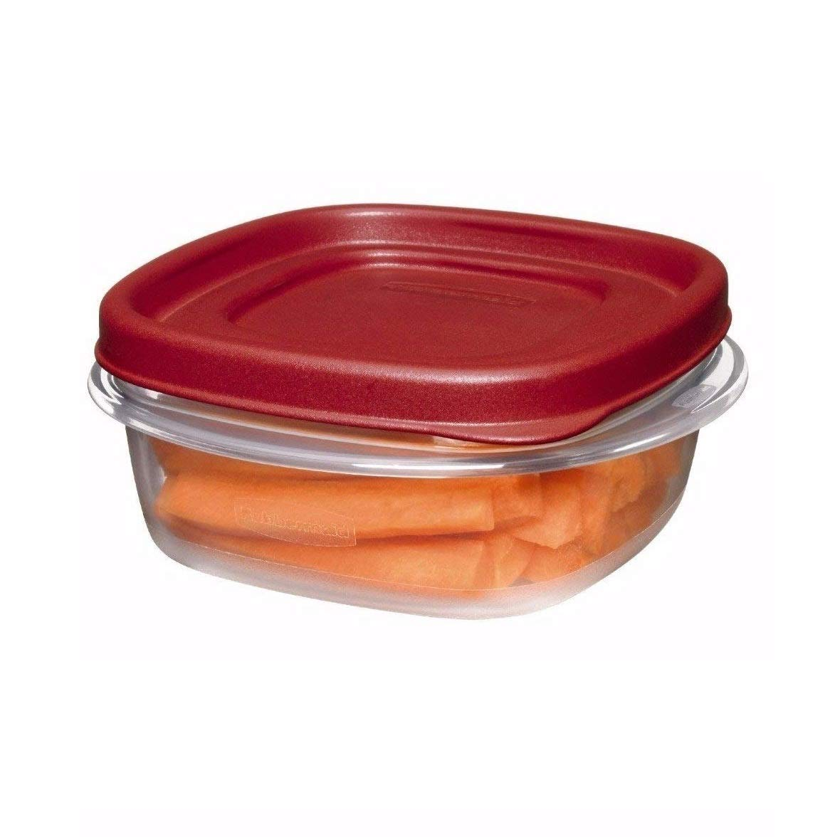 Rubbermaid COMIN18JU082133 669900229708 Easy Find Lid Square 1-1/4-Cup Food Storage Container, 12-Pack, Red, Clear