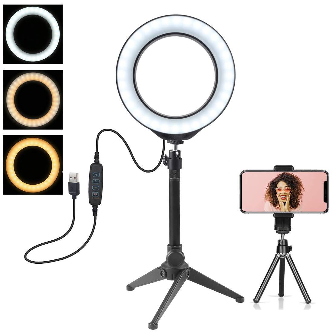 Mini c/ámara de luz LED con Soporte para tel/éfono Celular L/ámpara LED de Escritorio con 3 Modos de luz y 10 Niveles de Brillo Anillo de luz LED 6.216cm con tr/ípode para Video y Maquillaje de Youtube