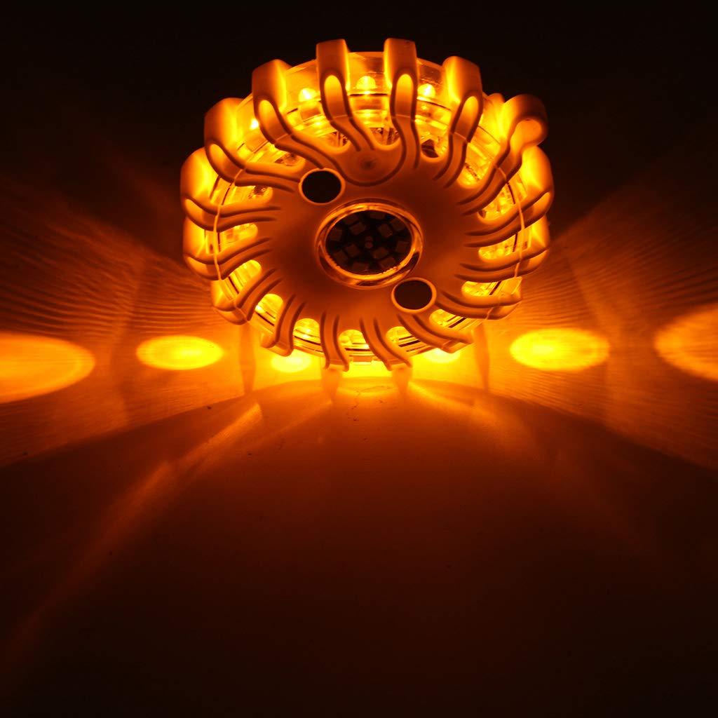 MagiDeal LED Road Flares Flashing Warning Light Roadside Flare Emergency Disc Beacon Magnetic Base for Car or Marine Boat