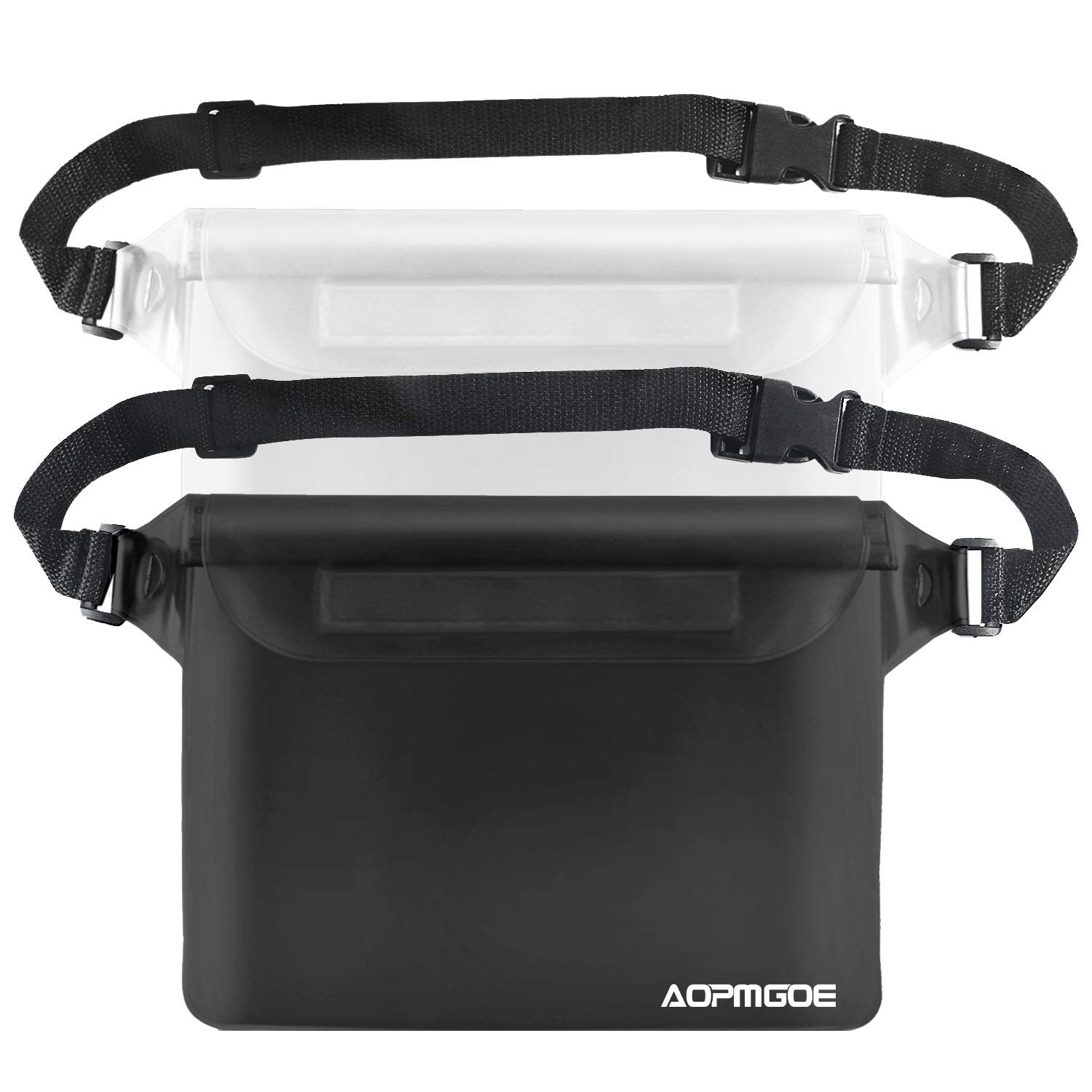 inxxmix IPX8 Waterproof Pouch with Waist Strap Black//Clear 2Pack |Waterproof Phone Pouch Kept Cell Phone Cash Card Keys Zip Wallet Strap Safe Dry| Kayaking Swimming Boating Snorkeling Beach