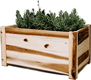 Villa Acacia Wooden Planter Box, Rectangle Shape for Garden, Patio or Window 20.5 x 12.25 x 10.25