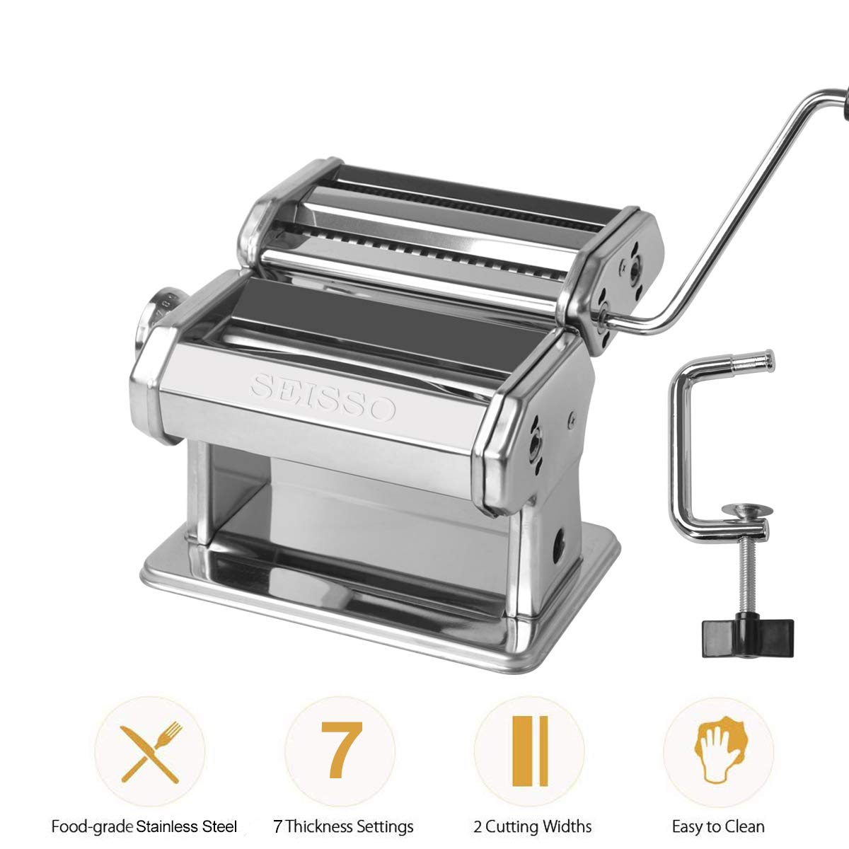 Pasta Maker, Manual Hand Crank Pasta Machine, Washable Stainless Steel Noodle Maker with 7 Adjustable Thickness Settings, Homemade for Spaghetti, Linguine, Bigoli, Trenette by SEISSO