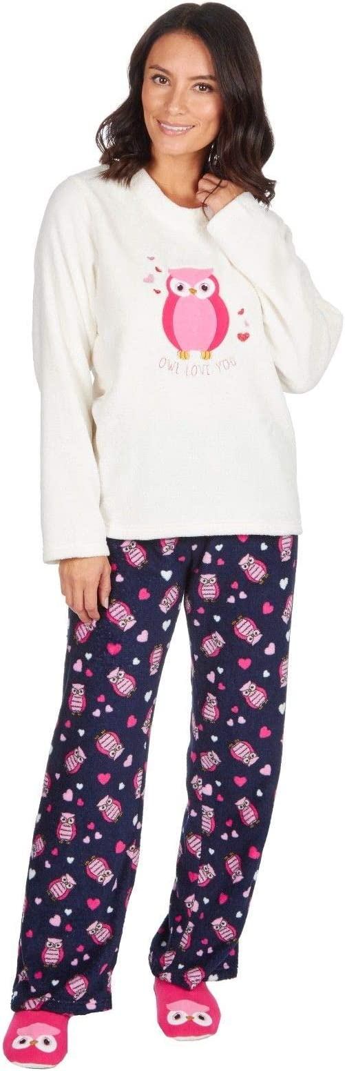 Ladies Gorgeous Snug as a Pug Blue Hearts Fleece Pyjamas /& Bed Socks Set