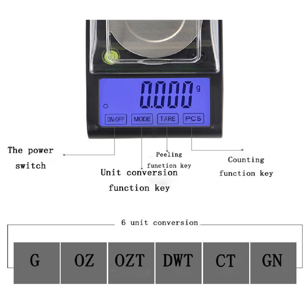 ce1abf6e83d4 Amazon.com: SUEKQ Digital Pocket Scale Kit, Portable 0.001g Kitchen ...
