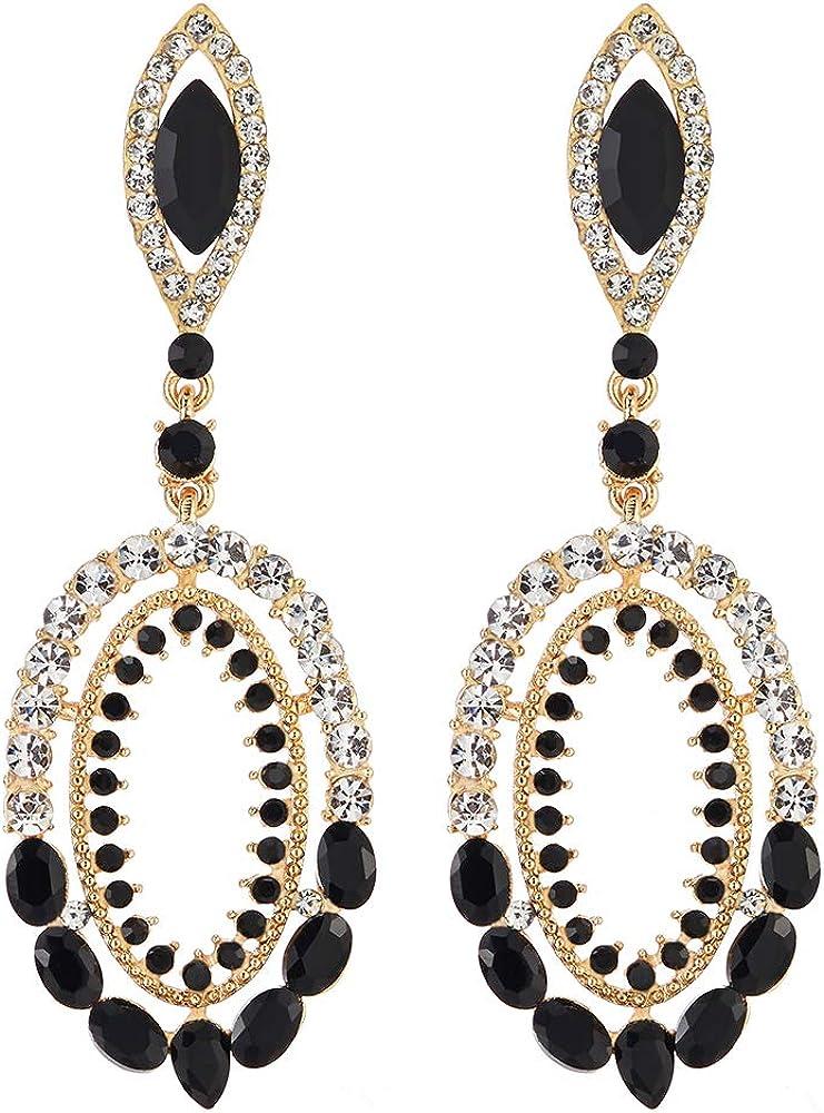 Prom Fiesta Vestir Victoriano Marquesa Negro Cristal Rhinestones Cluster Oval Grande Oro Color Statement Pendientes