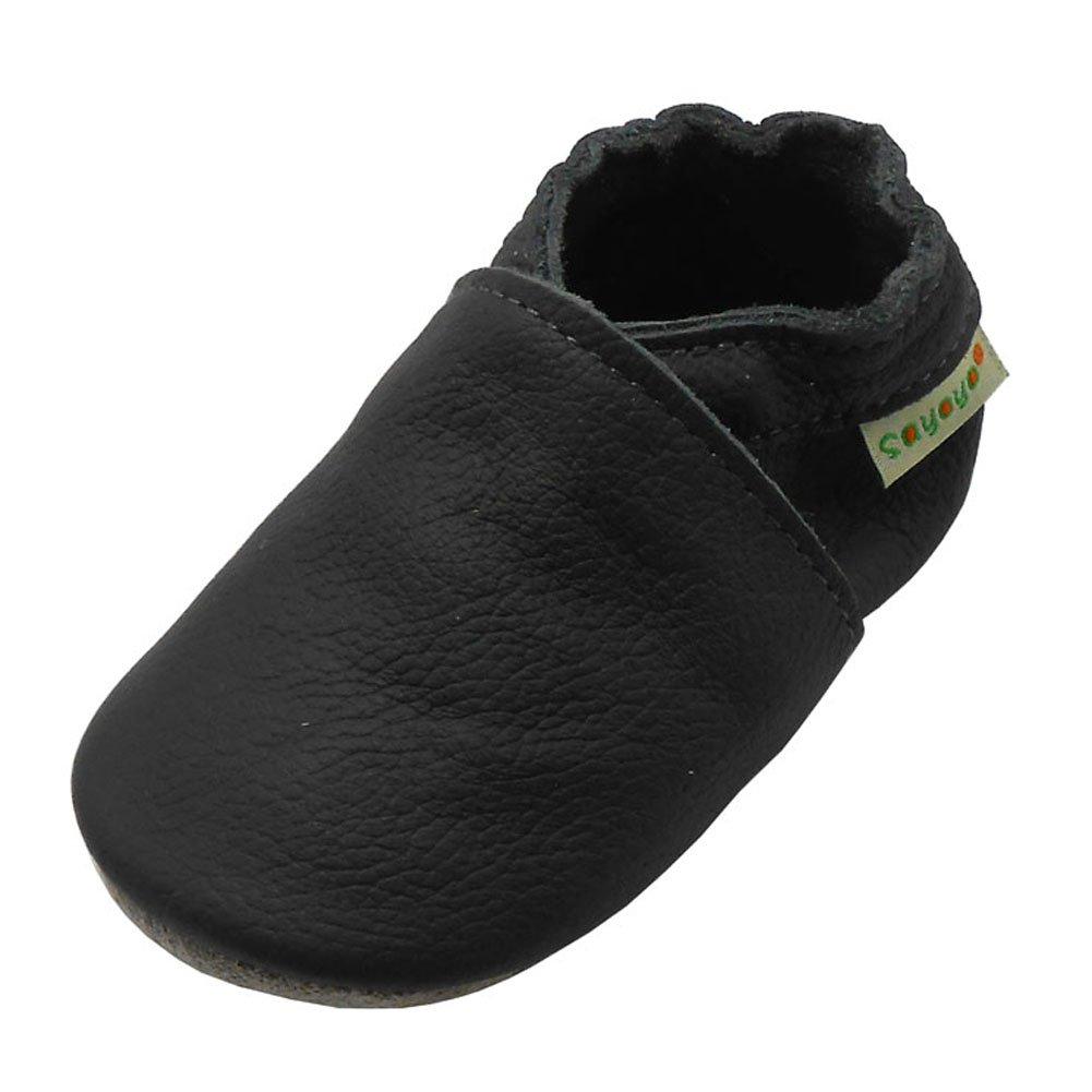 SAYOYO Baby Soft Sole Prewalkers Skid-Resistant Baby Toddler Shoes Cowhide Shoes (12-18 Months, Dark Grey) by SAYOYO