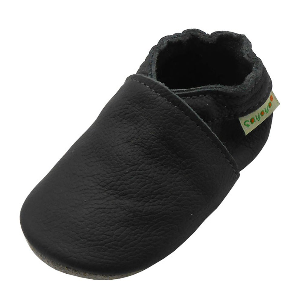 Sayoyo Baby Soft Sole Prewalkers Anti-Skip Baby Toddler Shoes Cowhide Shoes (6-12 Months, Dark Grey)