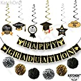 HAPPY GRADUATION Banner and Hanging Swirls Kit - Assembled, Graduation Hanging Decorations | Graduation Party Supplies 2018 | Graduation Decorations for College Grad, High School Seniors Party Decor