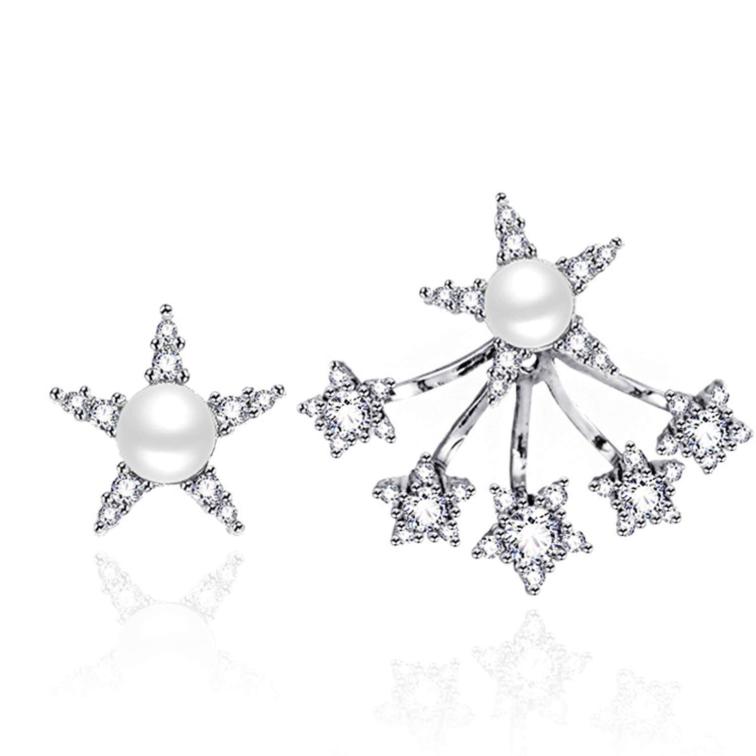 Beauty-OU Silver 925 Women Earrings With AAA Zircon Top Quality Simulated Pearl Star Stud Earings 925 Female Jewelry OPSE37
