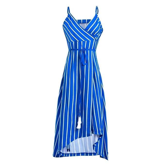 POLP Vestidos Largo ◉ω◉ Rayas Vestidos Mujer Verano Elegantes Tallas Grandes Vestidos, Fiesta Falda, Sin Manga de Playa Vestido, Camisetas Vestido, ...
