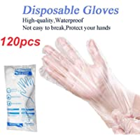 TFL Safe Hands Protective Polyethylene PE Disposable Gloves, Powder Free, 120Pc Plastic Transparent Disposable Gloves for Cooking, Food Handling, Cleaning, One Size Fits Most, (60 pcs x 2 packs)