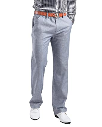 605d1b7193 Hoerev Mens Linen Casual Trousers, Casual Pants, Greyblue, 31W x Regular