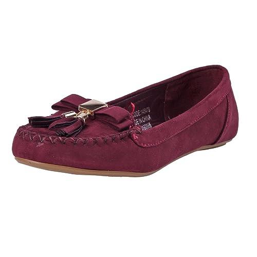 Damara Mocasines De Tela con Lazo Y Borlas Zapatos Planos para Mujer.Vino Rojo.talla43: Amazon.es: Zapatos y complementos