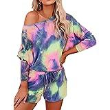Women's Lounge Set Long Sleeve Tops and Shorts Tie Dye Pajamas Set Loungewear Sleepwear PJ Set Night Shirt with Pockets
